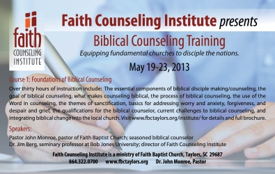 Biblical Counseling Training - May 19-23, 2013